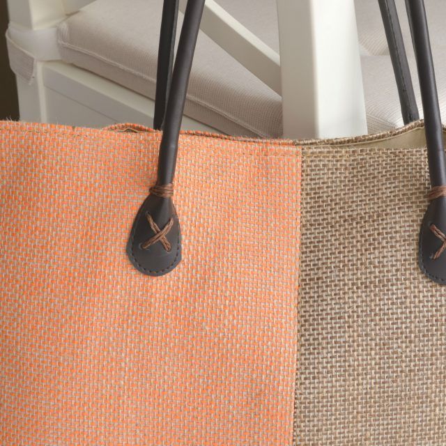 Jute Tote Bag with Soft Leather Handles