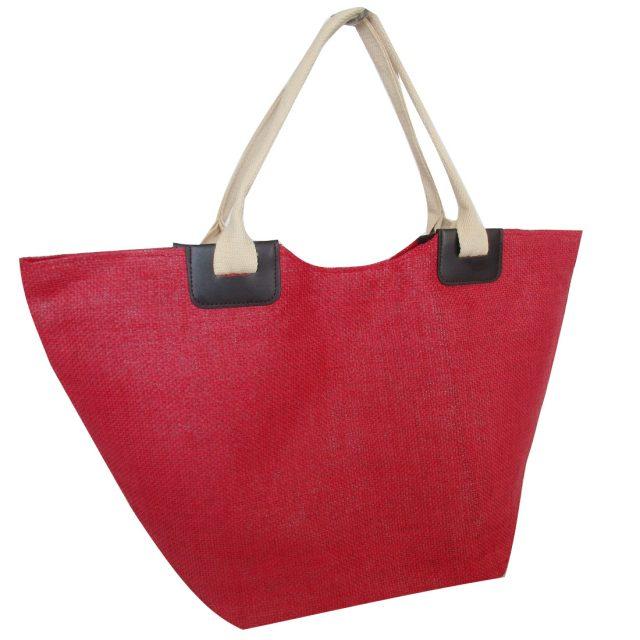 Large Beach Market Jute Bag Red