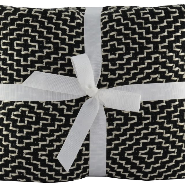 Woven Black and White Throw Blanket with Diamond Pattern
