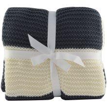 Charcoal Cream Chunky Knit Throw Blanket