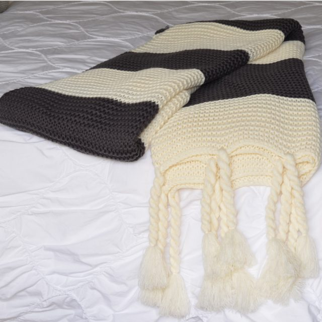 Charcoal Cream Chunky Knit Throw Folded