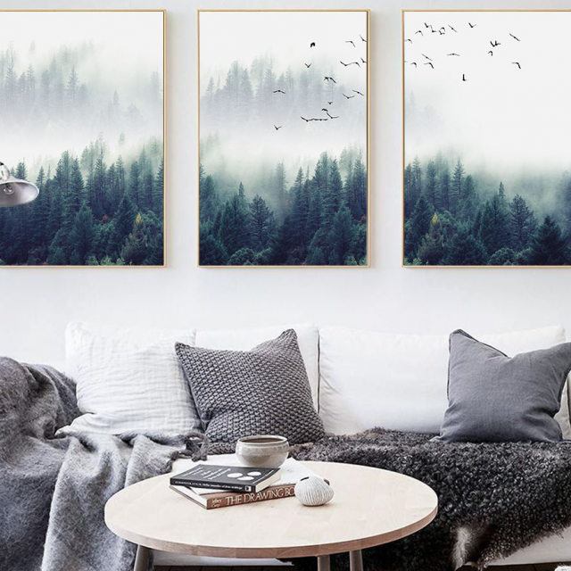 Nordic Forest in Fog Wall Art Canvas Print