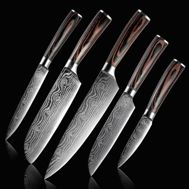 5 PCS Stainless Steel Chef Knife Set